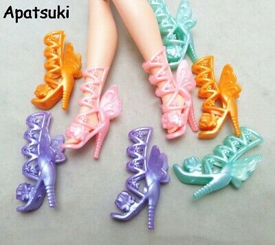 5pairs/lot Fashion Butterfly Wings Angle High-Heel Shoes Boots For Barbie Doll