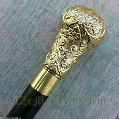 Black Wooden Walking Cane Stick Antique Brass Designer Handle Vintage Victorian