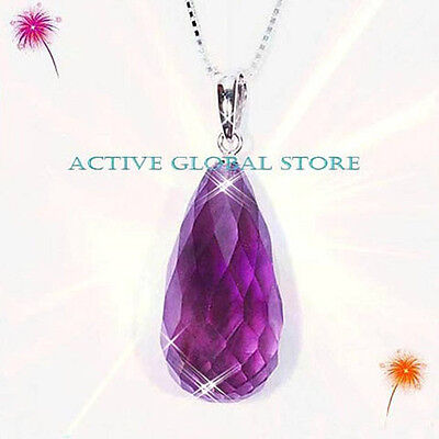 "Real 16""L 925 Silver Necklace Facet Natural Amethyst Quartz Crystal Pendant"