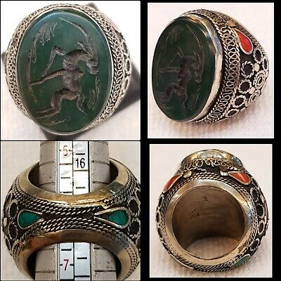 Big Massive Old Silver Antique Afghan Ring with Burma Jade Stone Deer Intaglio