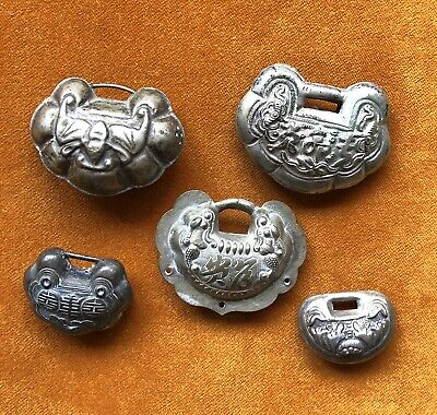 Five Old Chinese Lock Pendants