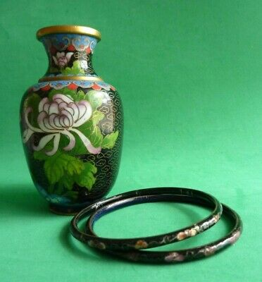 Vtg Cloisonne Vase Small Miniature Chinese Black Brass Enamel Flower Motif