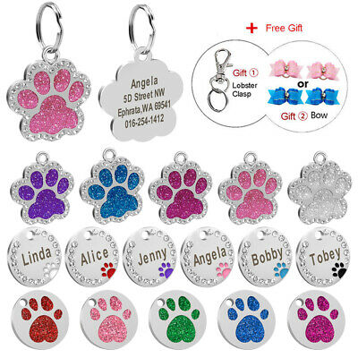Bling Glitter Round Paw Personalised Dog Tag Puppy Dog Cat Engraved Collar Tags