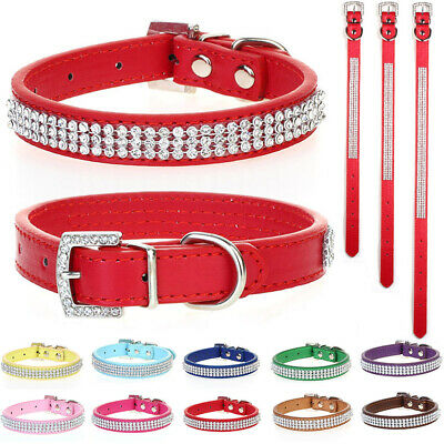 Pet Collars Dog Puppy Cat PU Leather Tag Crystal Diamond Bling Adjustable Neck.