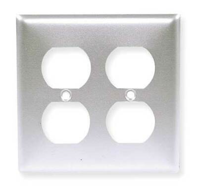 HUBBELL WIRING DEVICE-KELLEMS SS82 Duplex Wall Plate,2 Gang,Silver