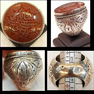 Beautiful Very Rare Islamic  Persian Calligraphy Agate Stone Ancient Silver Ring