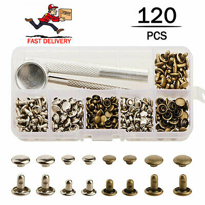 120x Rivets Double Cap Rivets Metal Stud Fixing Tool Kit for Leather Craft
