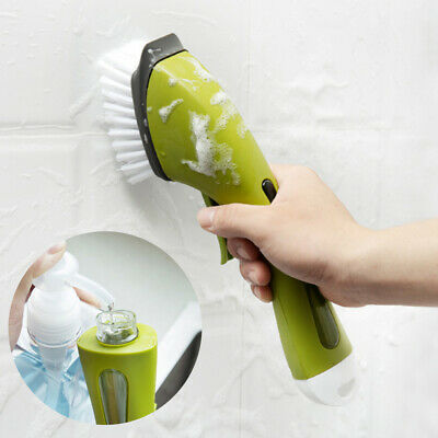 Washing Dish Bowl Scrubber Cleaning Brush With Refill Liquid Soap Dispenser