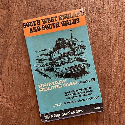Vintage Fold Map by Geographia South West England & South Wales Primary Routes
