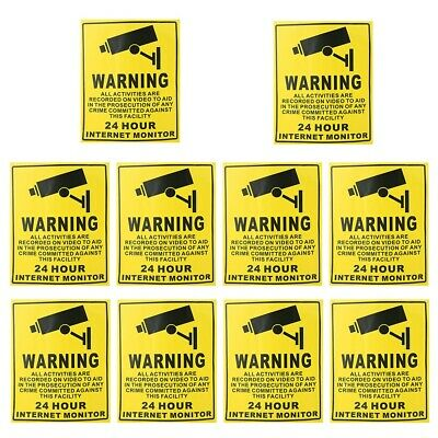 10pcs CCTV Security Surveillance Camera Warning Stickers Warning Sign Decals New