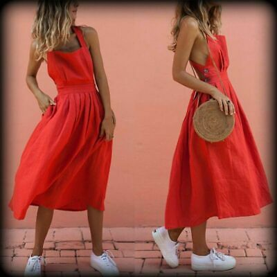 Women Summer Boho Long Maxi Dress Strappy Backless  Red Dress Beachwear
