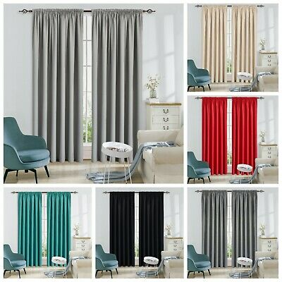 Thermal Blackout Pencil Pleat Tape Ready Made Curtains - Blackout Energy Saving