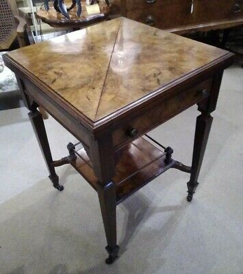 Antique victorian burr walnut envelope opening card table