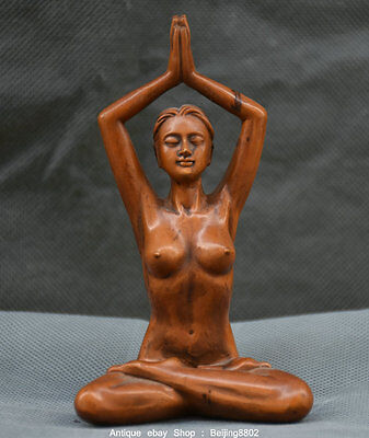 """5"""" Rare Old Chinese Boxwood Wood Hand Carved Naked Beauty Yoga za-zen Statue"""