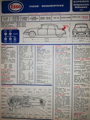Fiche technique automobile RTA CITROEN  D SPECIAL D SUPER 1971  ESSO ( DS )