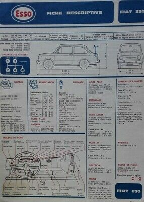 Fiche technique automobile RTA ESSO FIAT 128 SL 1100 1300 1974