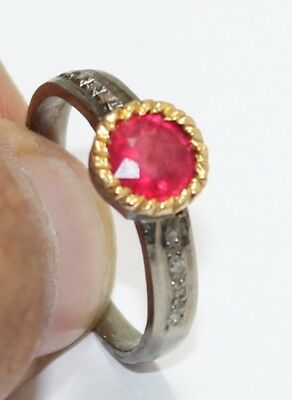 Sale Antique 925 Sterling Silver Rose cut Diamond Red Ruby Victorian Ring 1886