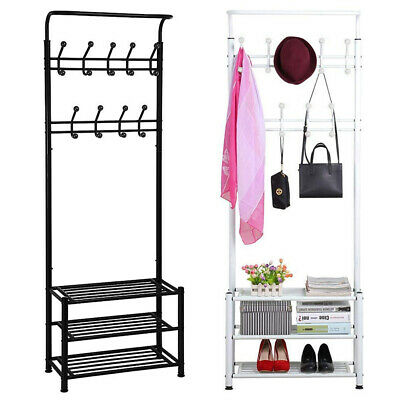 Black Metal 18 Hooks Hat and Coat Stand Clothes Shoe Rack Hanger Hooks Shelf New