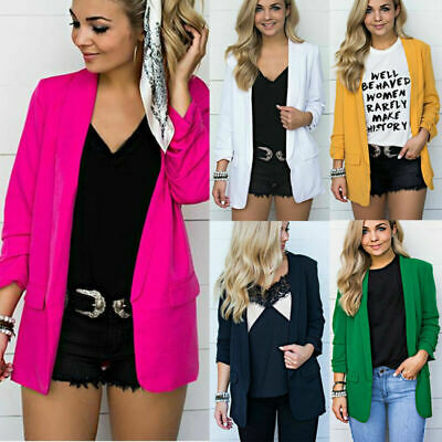 Women Blazer S-5XL Plus Size Collar Long Sleeve Suit Coat Plain Cardigan Jacket