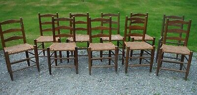 Antique Wood Ladderback Chairs w/ Splint Seats, Rare Matching Set of 10 - Nice!