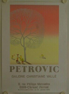 Affiche PETROVIC 1982 Exposition Galerie Christiane Vallé