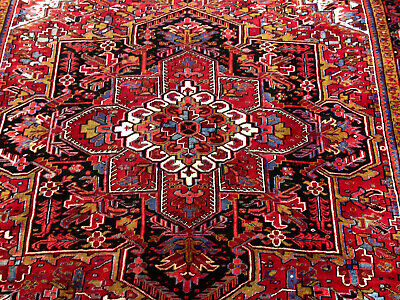 10x13 ANTIQUE PERSIAN HERIZ RUG HAND KNOTTED RUGS WOOL red oriental serapi 10x14