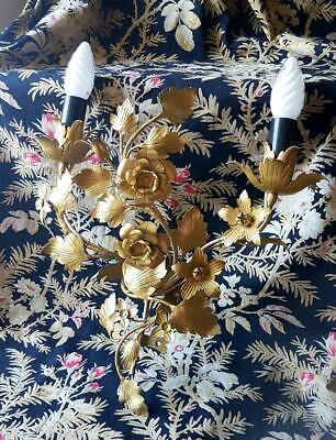 Pretty Vintage French Gilt Tole Floral & Foliage Wall Light Candle Sconce