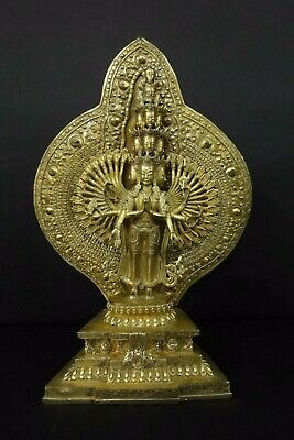 37cm Tall Very Rare Large Chinese Old Bronze Many Hands and Heads Buddha Statue