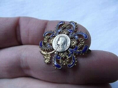 Antique 1900s French Enamel Gothic Religious Brooch-Pin w/Medal of Virgin Mary