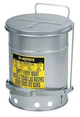JUSTRITE 09704 Oily Waste Can,21 Gal.,Steel,Silver