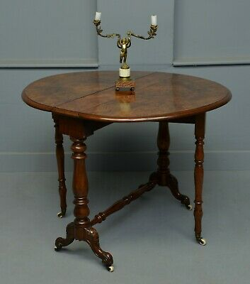 Victorian Burr-Walnut Sutherland / Drop-Leaf Table
