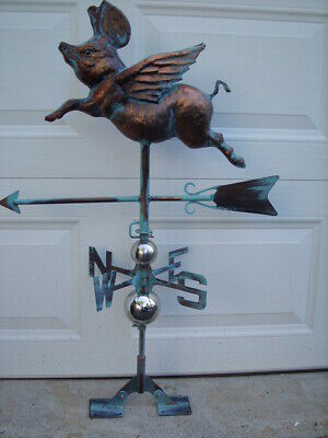 Flying Pig Weathervane Antique Copper Finish Swine Weather Vane Hand Crafted