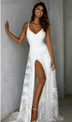 Summer Lace Chiffon Split Beach Wedding Dresses Spaghetti Straps Bridal Gowns
