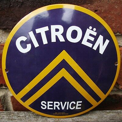 CITROEN ENAMEL SIGN round logo garage petrol oil vitreous porcelain VAC168