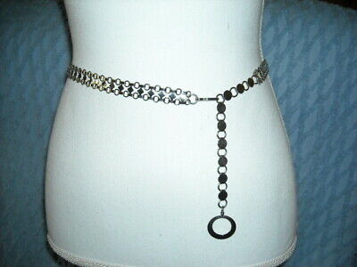 """Silver Color Chain Link Belt Chainmail Small Waist 32"""" End to End 1/2"""" Wide EUC"""