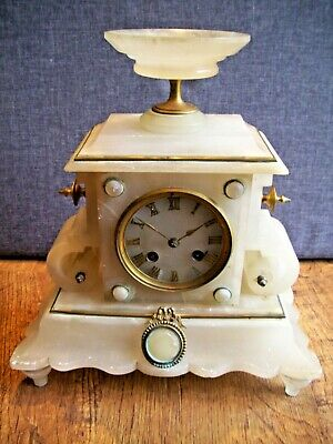 Antique 19th Century 1855 Alabaster French Japy Freres Mantel Clock (Brass Time)