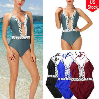 Hot Women One-Piece Swimsuit Beachwear Swimwear Push-up Monokini Bikini Bathing@