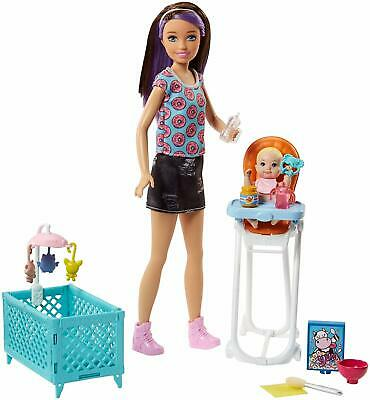Barbie Skipper Baby Sitter Doll Role-Play Interactive Kids Playset + Accessories