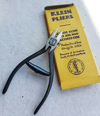 """Klein Tool Nos 202 Lineman Pliers 5"""" Wire Cutters Electrician Vtg Dykes Nippers"""