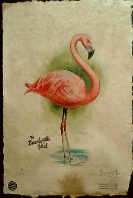 The Beverly Hills Hotel, Pink Flamingo Print, 22'x15'x Signed Fairchild Paris