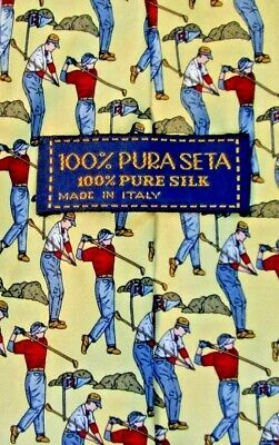 100% Pura Seta Lovely Yellow colour  with Golfers print  all Silk Made in Italy