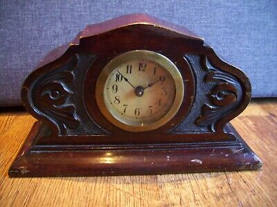 Antique 19th Century Rosewood Mantel Clock with Hand-Carved front Decoration
