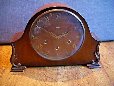 Antique 1930's Dark Oak Smiths Mantel Clock with Floating Balance (Scroll Decal)