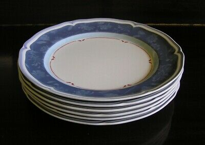 Set of 7 Villeroy & Boch Cottage Blue Dinner Plates ~ Country Collection