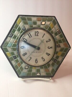 General Electric Vintage Hexagon Faux Mosaic Tile Working Wall Clock