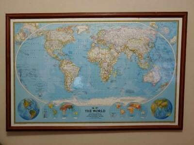 """Huge Framed National Geographic World Map Collectible 48""""x32"""" Very Nice"""