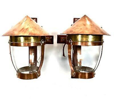 Antique Pair of Arts & Crafts Copper And Brass Wall Lights / Glass Lanterns
