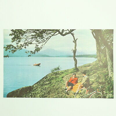 Vintage 1957 Cyclists Resting on Bonnie Banks O' Loch Lomond Printed Page (6x10)