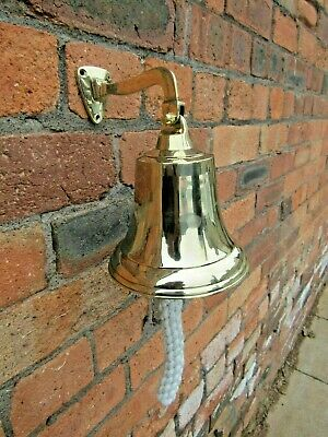 "6"" POLISHED BRASS  Vintage Ships victorian Wall bell School pub last dinner door"