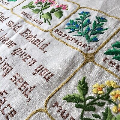 Vintage hand-embroidered wall hanging. Linen. Botanical. Herb. Christian. Psalm.